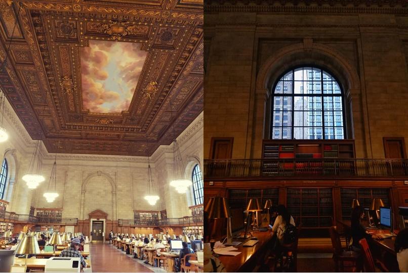 Rose Room, a sala de leitura com aproximadamente 24m x 90m (esq.) e detalhe do Empire State Building enquadrado pela janela da sala de leitura